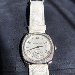 Michael Kors white leather silver watch